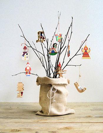 árvore de natal artesanal pequena galho seco