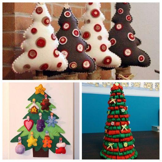 árvores artesanais de feltro para o natal
