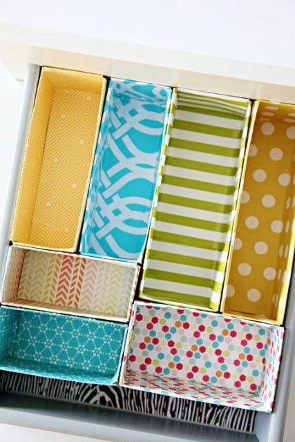 como organizar gavetas com caixinhas de papel