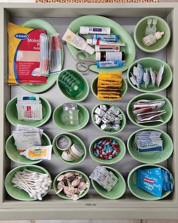 como organizar gavetas com potes