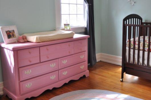 cômoda para quarto de bebê rosa provençal