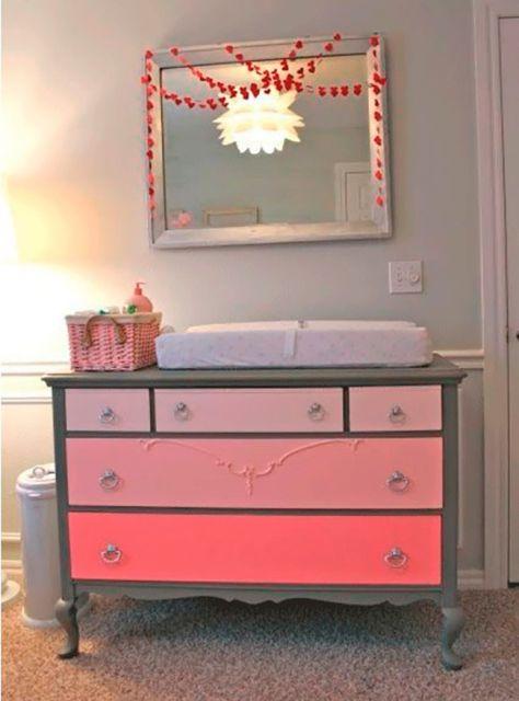 cômoda para quarto de bebê gavetas rosas