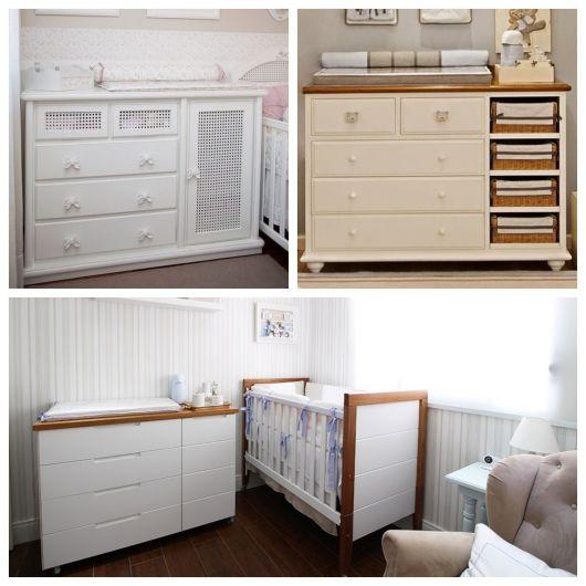 cômodas para quarto de bebê modelos brancos