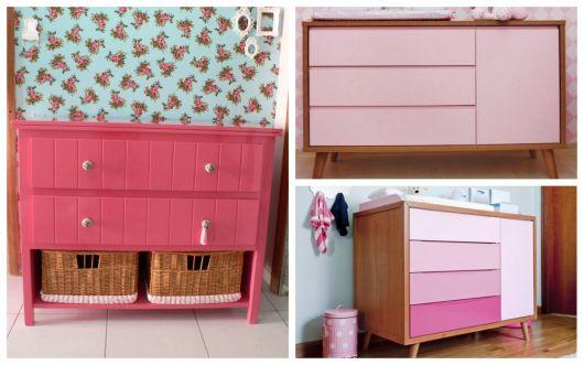 cômoda rosa quarto de bebe