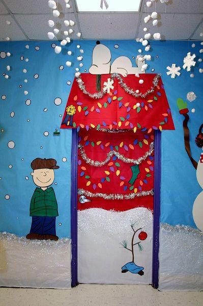 enfeites para porta de Natal snoopy