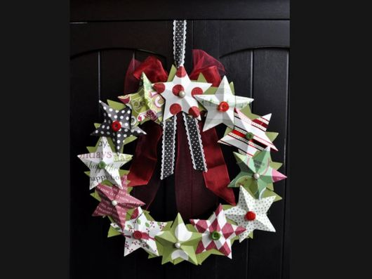 enfeites para porta de Natal estrelas