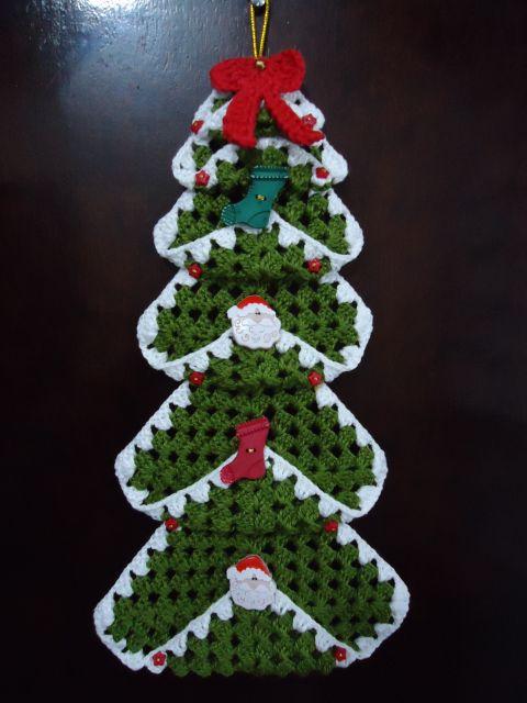 enfeites para porta de Natal crochê