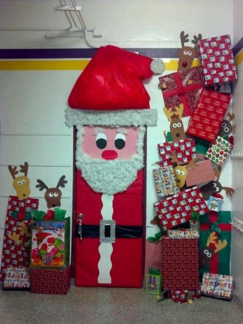 enfeites para porta de Natal escola papai noel
