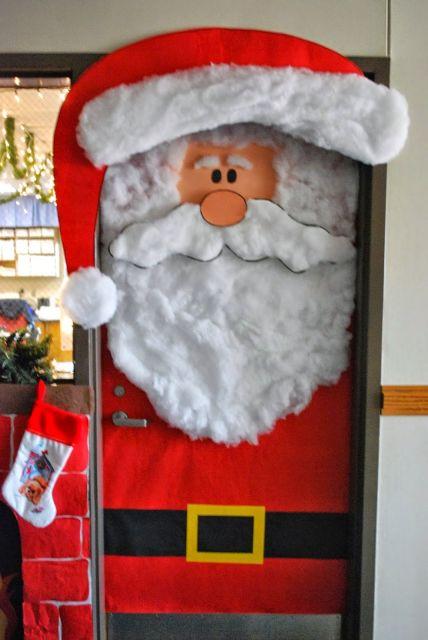 enfeites para porta de Natal papai noel escola