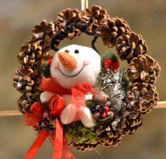 enfeites para porta de Natal guirlanda boneco de neve