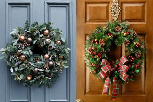 estilos de enfeites para porta de Natal