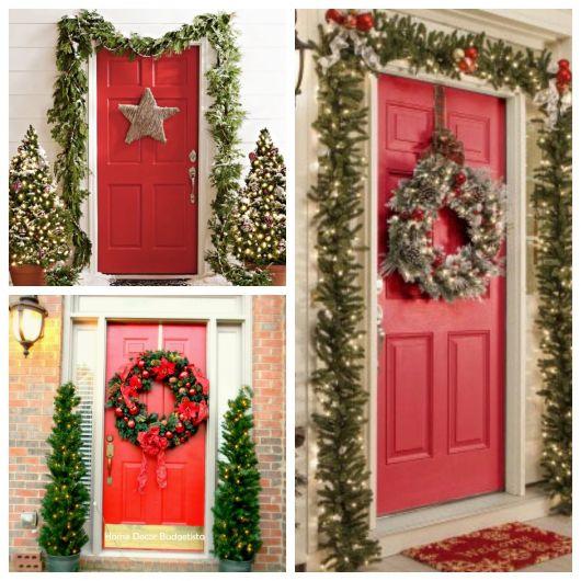 enfeite de porta no Natal verde