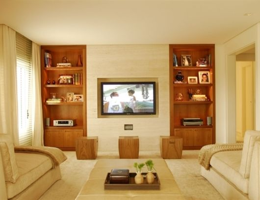estante com painel para sala com TV