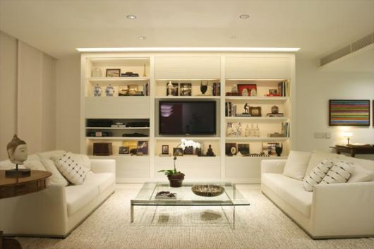 estante para sala branca painel de TV
