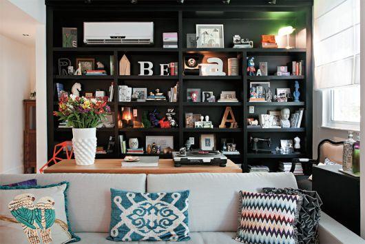 estante planejada para sala moderna