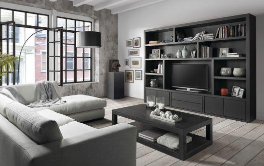 estante preta para sala de TV