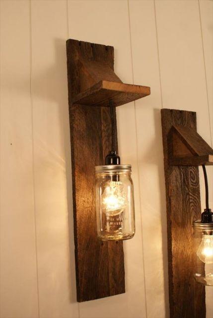 luminária de madeira de parede
