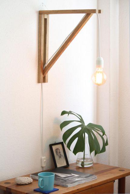 luminária de madeira de parede lâmpada