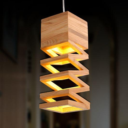 luminária de madeira pendente ou de teto