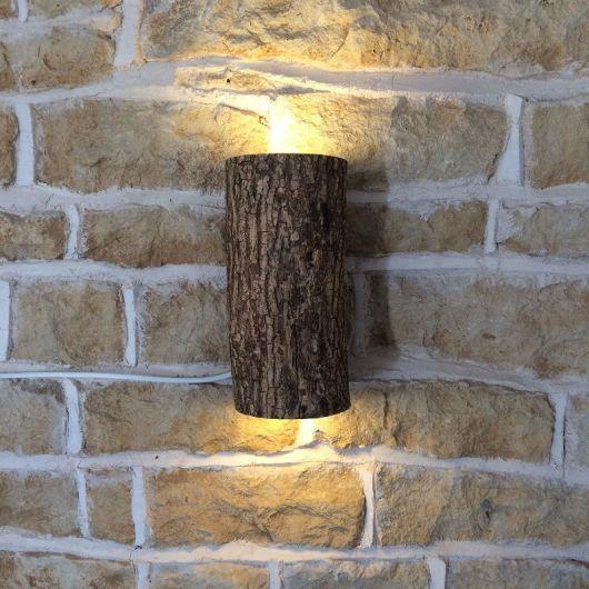 luminária de madeira para varanda parede