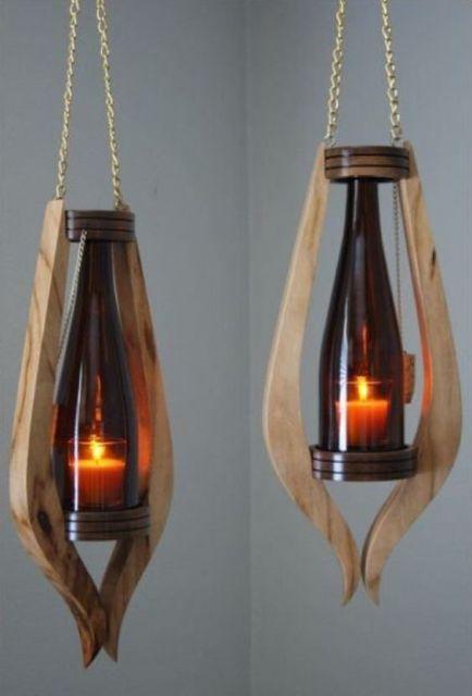 luminária de madeira pendente moderna
