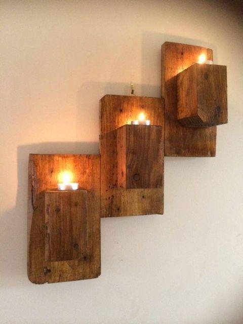 luminária de madeira de parede rústica