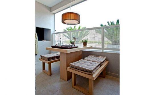 luminária de madeira para varanda moderna