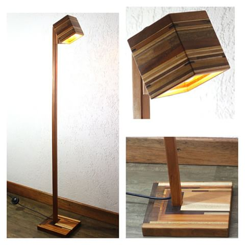 luminária de madeira de piso elegante