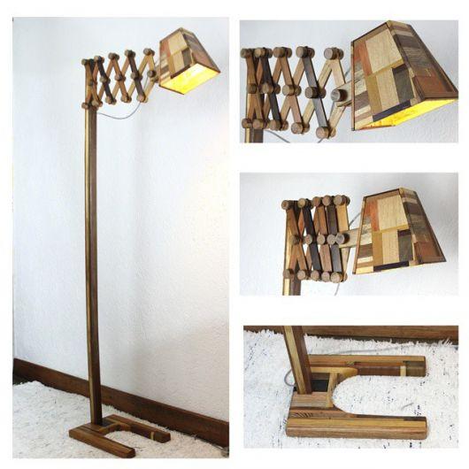 luminária de madeira de piso divertida