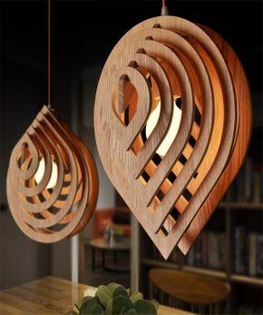 luminária de madeira pendente gota