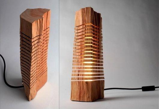 luminária de madeira de mesa design