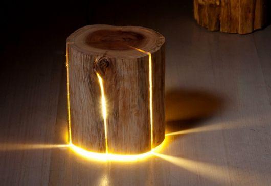 luminária de madeira de mesa tronco