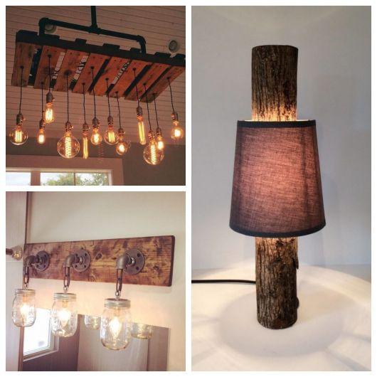 luminária de madeira artesanal