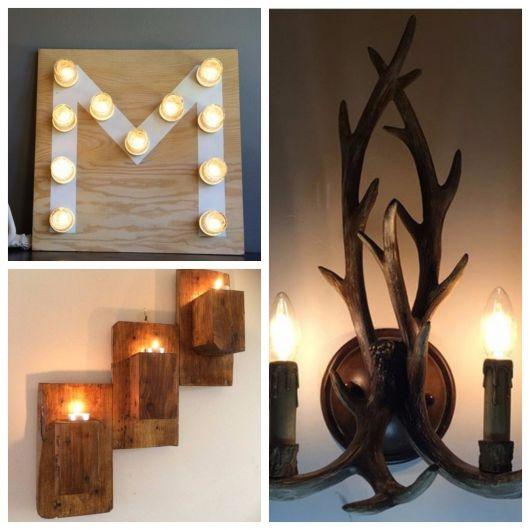 luminária de madeira parede