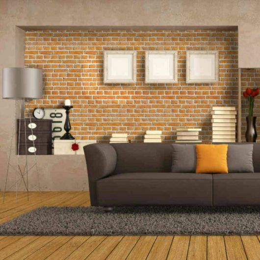 papel de parede de tijolinho na sala
