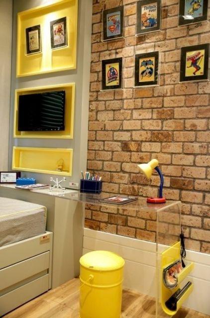 papel de parede de tijolinho no quarto