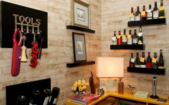 papel de parede de tijolinho na cozinha