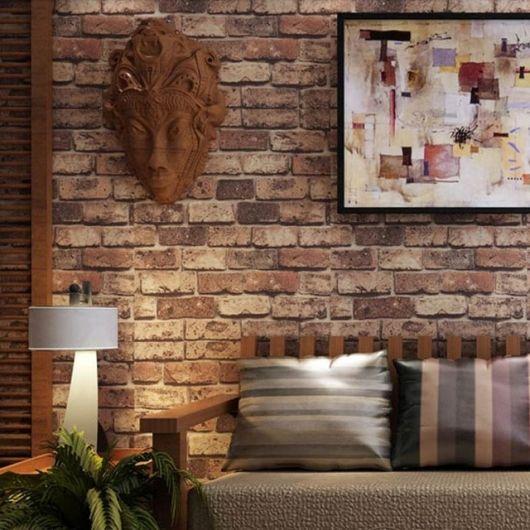 papel de parede de tijolinho rústico na sala