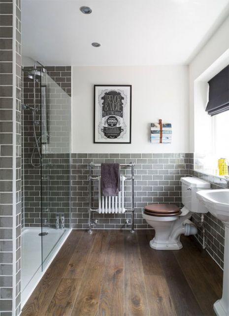 papel de parede tijolinho cinza no banheiro