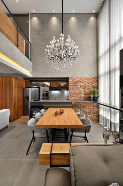 papel de parede de tijolinho na cozinha grande