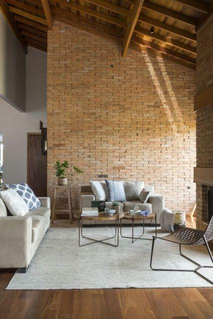 papel de parede de tijolinho rústico para sala