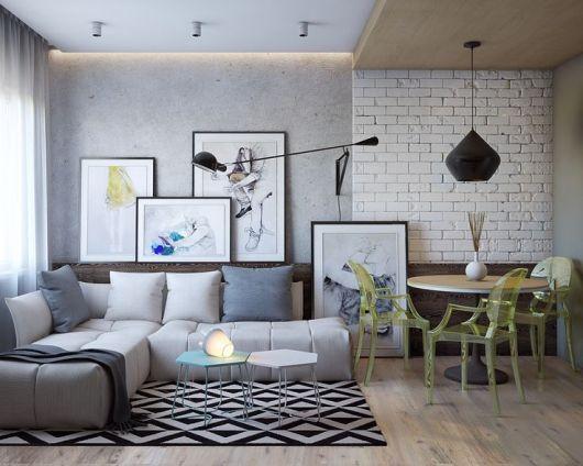 sala estilosa papel de parede de tijolinho