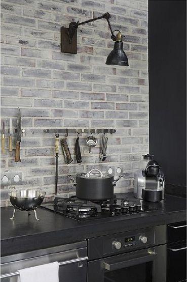 papel de parede tijolinho cozinha cinza