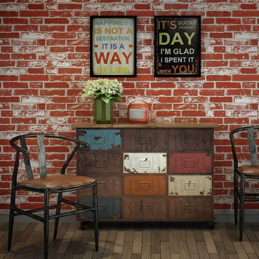 papel de parede vermelho de tijolinho decorativo