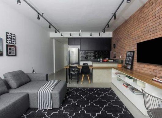 papel de parede de tijolinho sala moderna