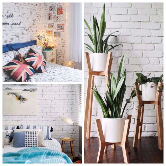 Papel de parede modelo com tijolinhos brancos