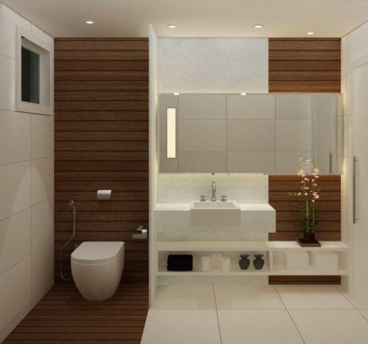 parede de madeira no lavabo