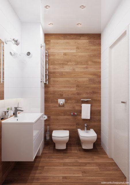 parede de madeira para banheiros