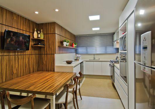parede de madeira para cozinha