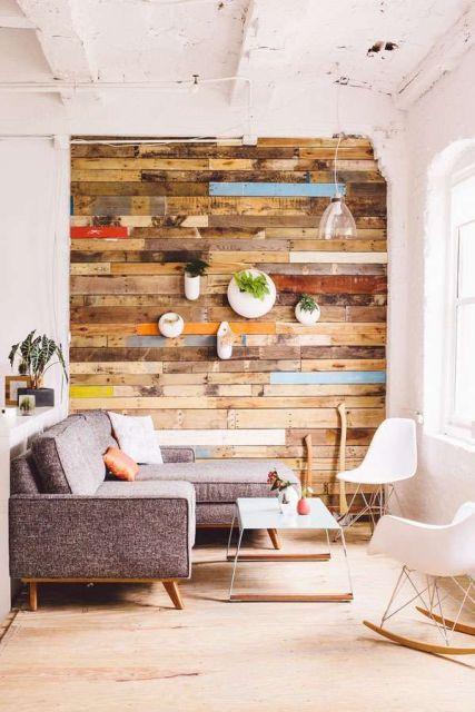 parede de madeira demolição para sala
